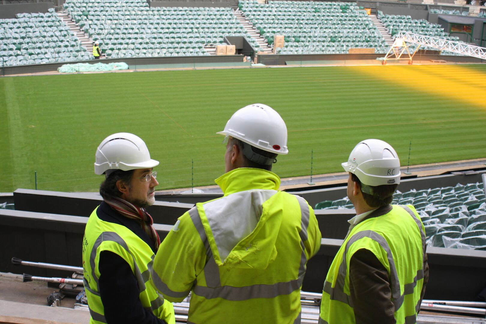 Contractors on site at a stadium