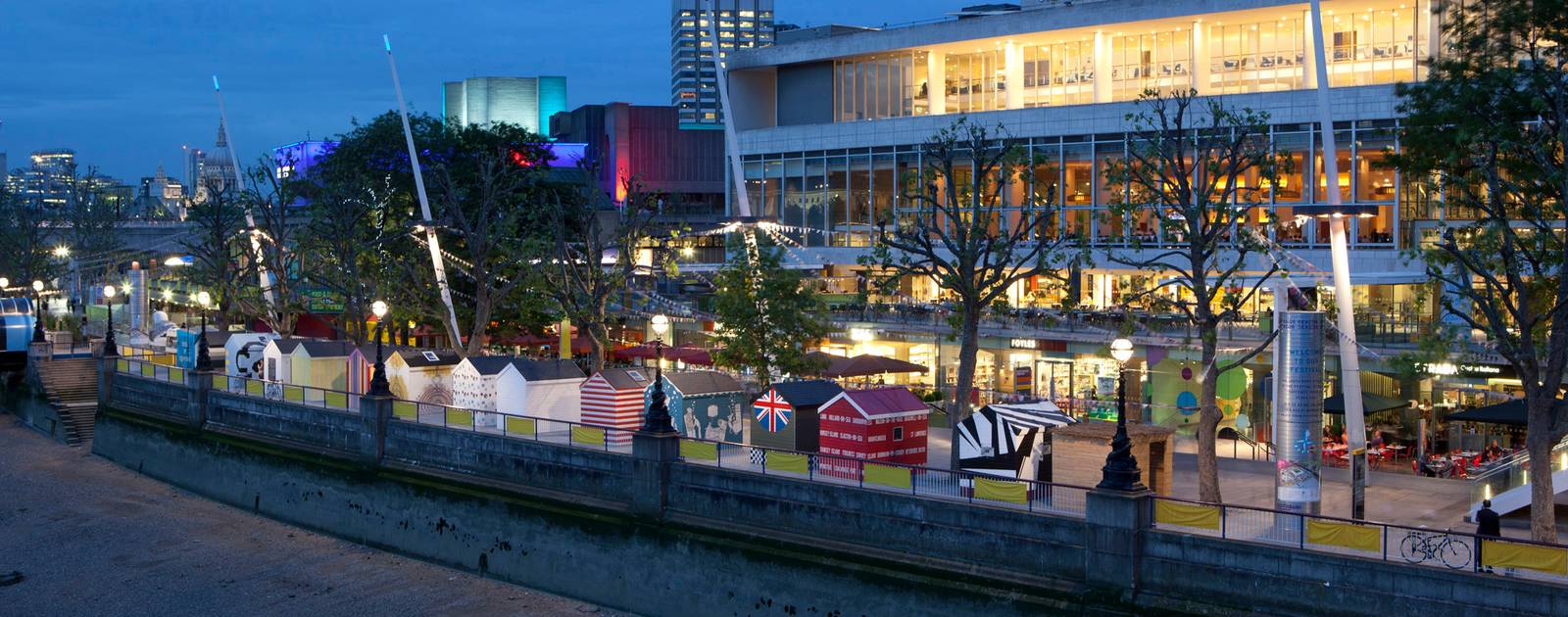 Evening view of the Royal Festival Hall at the Southbank Centre