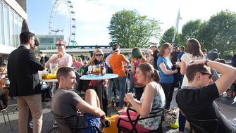 People enjoying the Royal Festival Hall Terrace Bar at the Southbank Centre